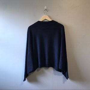 Avenue Sweaters - Plus Size Shrug Sweater Bat Wing Short Navy Blue